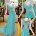 2015 A línea vestido de fiesta elegante gasa Iace azul con cuentas vestido de noche Formal 2015 de largo vestido de formatura longo tallas grandes