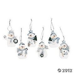 Resin Blue Snowman Christmas Ornaments Pack of 12 * Want additional info? Click on the image.