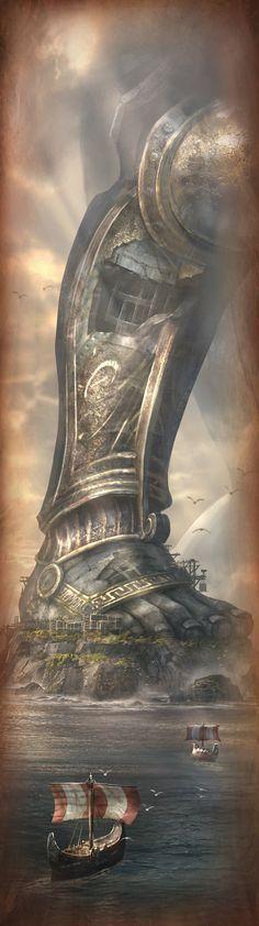 Awesome artwork - God of War Ascension concept art by Cliff Childs. 3d Fantasy, Fantasy Places, Fantasy Landscape, Fantasy World, Digital Art Illustration, Cyberpunk, Art Graphique, God Of War, Greek Gods