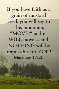 Bible Verses to Live By:If you have faith as a gain of a mustard seed, you will say to this mountain, move and it will move . and nothing will be impossible for you! Bible Verses Quotes, Bible Scriptures, Faith Quotes, Strength Scriptures, Faith Bible, Motivation Positive, Jesus Christus, A Course In Miracles, Favorite Bible Verses
