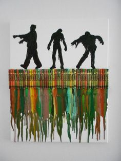 Zombies Melted Crayon Painting by OnceUponACrayon on Etsy, $35.00