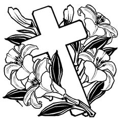 Easter Coloring Sheets Cross Pages With Flowers Picture