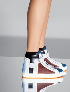 Hermès Sneaker in curacao, sky blue, tomette, black and white calfskin