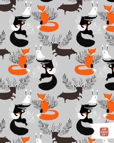 Fox, wolf, rabbit, reindeer and chicken repeat pattern by Dinara Mirtalipova