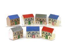 Miniature Houses Set of 7 Erzgebirge Germany Wood Carving Micro Primitive Miniature Village by bigbangzero on Etsy