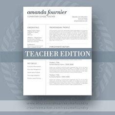 Resume Design : Teacher Resume Template by ResumeFoundry on Creative Market - Resumes. Cover Letter For Resume, Cover Letter Template, Cv Template, Letter Templates, Resume Templates, Design Templates, Cover Letters, Best Resume, Resume Tips