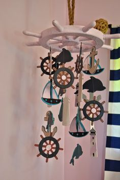 Have got to make something like this for his nursery!!!!!! Manic Mama Miles: Nautical Nursery DIY Baby Mobile