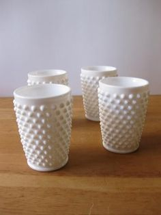 milk glass hobnail juice glasses?! on my thrifting list. must find!