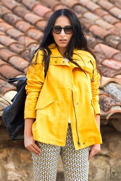PRADA 13PS sunglasses   More pics and details on my blog:  http://www.withorwithoutshoes.com/2014/10/chaqueton-marinero-amarillo-yellow-peacoat.html  #yellow #peacoat #backpack #leather #sunglasses #prada @blackfive