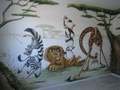 Kids Wall Murals, Murals For Kids, Bedroom Murals, Kids Bedroom, Disney Mural, Madagascar Movie, Alice And Jasper, Mural Painting, Wall Paintings
