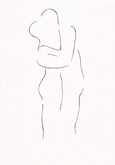 Two nude figures kissing. Minimalist ink drawing of erotic embrace. Man and…