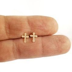 Cross Earrings, Stud Earrings, Gold Cross, Leather Pouch, Solid Gold, Studs, My Etsy Shop, Yellow, Pendant