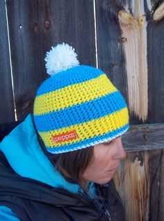 Peppar Yellow and Blue Ski Hat / Snowboard Hat for men and women. $35.00, via Etsy.