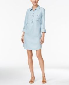 Style & Co Petite Denim Shirtdress, Only at Macy's - Blue P/