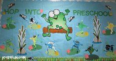 Hop Into Preschool: September Hop into Preschool welcome frog theme bulletin…