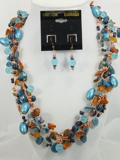 Blue Apatite Beaded Necklace Set by timetalentjewels on Etsy