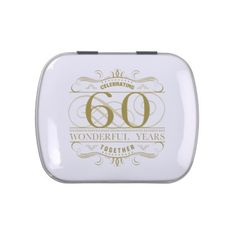 #Celebrating 60th Anniversary Candy Tins - #WeddingCandyContainers #Wedding #Candy #Containers #Tins Wedding Candy Containers & Tins