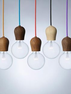 Bright Sprout is a wooden fixture designed by Danish Jonas Hoejgaard for Nordic Tales to hide the light bulb sockets on energy saving bulbs. With its clean Nordic design it turns an important everyday object into an aesthetic experience. Nordic Design, Scandinavian Design, Scandinavian Interiors, White Interiors, Design Design, Modern Design, Design Ideas, Modern Lighting, Lighting Design