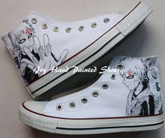 water shoes:Converse Shoes The Last Naruto the Movie Water Painted Canvas Shoes, Hand Painted Shoes, Painted Clothes, Make Your Own Converse, Naruto Gaara, Unique Christmas Gifts, Shoe Art, Water Shoes, Kawaii Fashion