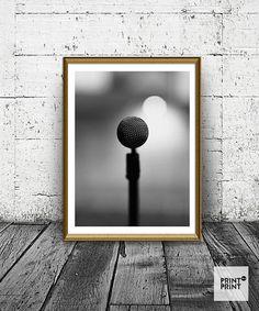 Microphone Print, Vintage Mic Photo, Black and White Microphone Poster, Singer, Vocalist Print, Minimal Print, Wall Art, Home Decor