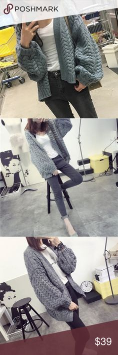 """Knitted cardigan sweater Material: acrylic.                                                         🌺🌺🌺bust/shoulder/length/sleeve length  US S.     38""""/20.4""""/22""""/17"""" US M.    38.5""""/20.6""""/17.3"""" US L.     39""""/20.8""""/17.6"""" US XL    40""""/21""""/23.2""""/17.9"""" Sweaters Cardigans"""