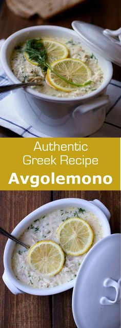 Avgolemono Soup (Soupa Avgolemono) is a traditional Greek soup with ancient Mediterranean roots that consists of beaten eggs and lemon stirred into chicken broth. Whole30 Soup Recipes, Cooking Recipes, Top Recipes, Healthy Recipes, Delicious Recipes, Greek Lemon Chicken Soup, Greek Egg Lemon Soup Recipe, Avgolemono Soup, Greek Cooking