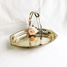 vintage silver tray / decorative silver tray with handle / silver plate silver basket / flower girl basket / silver candy dish / silver tray by GlyndasVintageshop on Etsy