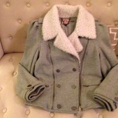 Juicy couture cotton sweatshirt jacket Warm cosy sweatshirt jacket with bomber jacket styling. Warm fleece collar. Juicy Couture Jackets & Coats