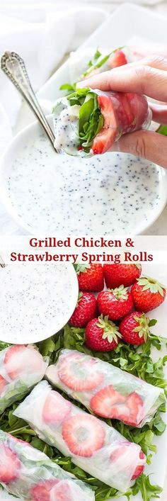 Grilled Chicken and Strawberry Spring Rolls These fresh and crunchy spring rolls are full of summer flavor! Dip them in a healthy poppy seed dressing for a fun and easy appetizer! Lunch Snacks, Healthy Snacks, Healthy Eating, Healthy Recipes, Healthy Suppers, Lunches, Grilled Chicken, Appetizer Recipes, Italian Appetizers