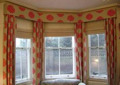 Dining room window treatment ideas-cornice type with curtains and shades. Not this fabric but somehow to make it more airy or light.