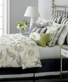 grey and green bedding. Love this bedroom wall color.