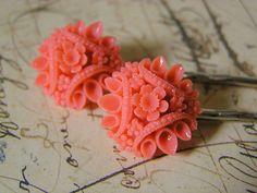 Coral Hair Pins