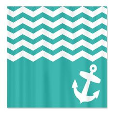 <3 Teal Nautical chevron anchor Shower Curtain by InspirationzStore