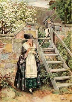 "1.  OLIVIA (Frontispiece):  ""What Olivia really felt gave me some uneasiness. In this struggle between prudence and passion her vivacity quite forsook her.""  -- Goldsmith. 'The Vicar of Wakefield.'  ----   Eleanor Fortescue-Brickdale Illustrations: Golden Book of Famous Women"