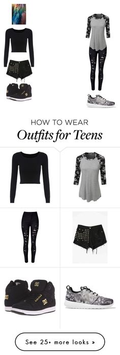 """""""At least wear the one on the right teens!!!!"""" by courtneyfreedom on Polyvore featuring WithChic, DC Shoes, LE3NO and NIKE"""
