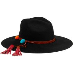 Sensi Studio Pompom-embellished suede-trimmed wool-felt fedora (3.030 ARS) ❤ liked on Polyvore featuring accessories, hats, black, fedora hat, wool felt hat, pompom hat, felt hat and bohemian hats