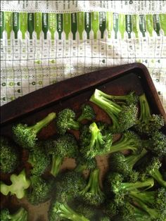 Roasted Broccoli: Preheat your oven to 425. Cut up one crown of broccoli into bite-size pieces, then toss it with about a tablespoon of olive oil and some sea salt on a cookie sheet. Cook for 12-14 minutes, tossing once, until it starts getting a little browned and crackly in a good way.