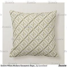 Shop Gold & White Modern Geometric Repeat Pattern Throw Pillow created by LeonOziel. Modern Throw Pillows, Gold Pillows, Decorative Throw Pillows, Repeating Patterns, Custom Pillows, Fabric, Color, Design, Tejido