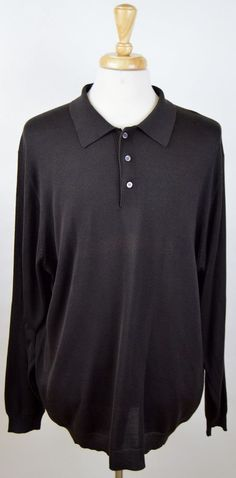 men's Jos A Bank solid dark brown LS 100% silk 2XL XXL polo shirt #JosABank #PoloRugby