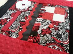 Red and Black Adult Fidget Quilt for Alzheimer's and Dementia patients