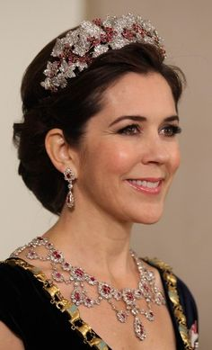 HRH Crown Princess Mary of Denmark wearing the ruby parure at the Ruby Jubilee of HM Queen Margrethe II of Denmark