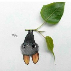 Bat hanging on a leaf.