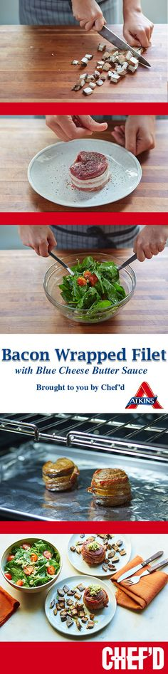 This bacon wrapped filet is elegant, flavorful, and is sure to impress your guests. It's low carb! Try this Atkins recipe and have all the pre-portioned ingredients delivered to your home! Blue Cheese Butter, Bacon Wrapped Filet, Atkins Recipes, Butter Sauce, Low Carb, Keto, Elegant, Classy, Chic