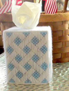 White and Light Blue Tissue Box Cover