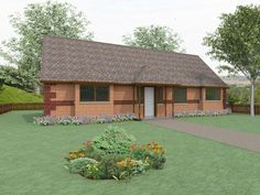 The Foxley - modified design. The Foxley is a traditional three bedroom bungalow plan which can be adapted to a range of classic British countryside styles.  The design incorporates a large living room and separate kitchen / dining space, and is ideally suited for a rectangular plot.  All main reception rooms and bedrooms are accessed via a central corridor. Bedroom 3 has the benefit of an en-suite bathroom.