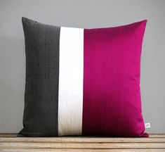Red Silk Color Block Pillow Cover Holiday Decor Luxury Gift for Her by JillianReneDecor Ruby Red Cream and Gray Metallic Santa Diy Pillows, Decorative Pillows, Throw Pillows, Cushion Cover Designs, Cushion Covers, Luxury Gifts For Her, Applique Cushions, 20x20 Pillow Covers, Silk Pillow