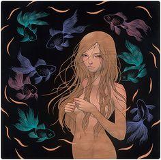 Wood Panel Paintings by Audrey Kawasaki