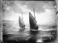 """Alexander Johnston - Herring fishing boats off Wick harbour Stornoway fifie """"Rambler"""" follows WK1 """"First"""" to the harbour mouth. Estimated date : 1860 – 1869 ©The Wick Society"""