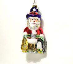 Margaret Cobane Glass Ornament Cowboy Santa