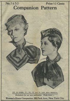 Vintage Hat Sewing Pattern | Woman's Home Companion 5630 | Year 193? | Head Size 22 | Hat and Scarf